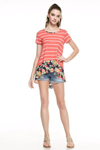 Coral Stripe Hi-Low Floral Hem Top