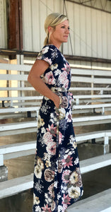 Navy Hi-Low Floral Dress