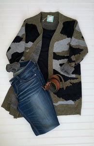 Camoflage Knitted Sweater Cardigan