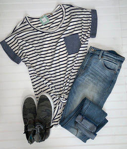 Stripe and Chambray Contrast Top