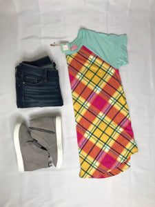Fuchsia and Yellow Plaid Top