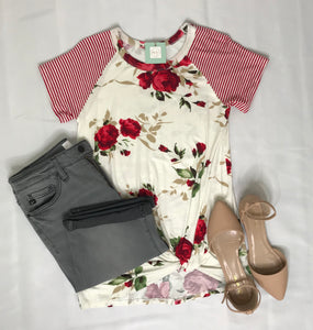 Red stripe and floral