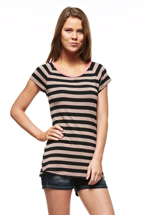 Mocha Stripe Short Sleeve