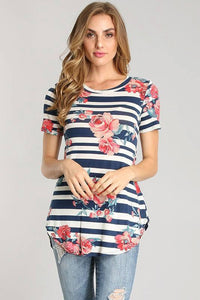 Navy Stripe Floral Top