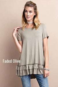 Faded Olive Ruffle Tunic