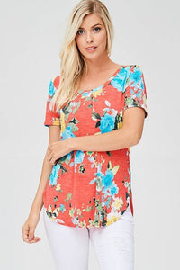 Vibrant Plus Size Orange Floral Top