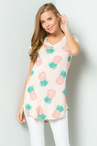 Peach Pineapple Print Top