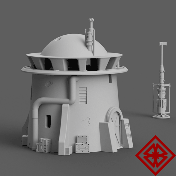 Star Wars Legion terrain tower digital render