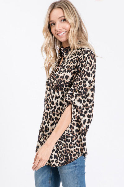 Lacey 3/4 Sleeve Leopard Print Top