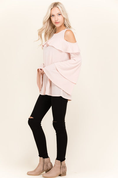 Aria Pink Open Shoulder Tunic with Ruffled Bell Sleeves