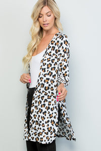 Zoey Leopard Print Three Quarter Sleeve Cardigan