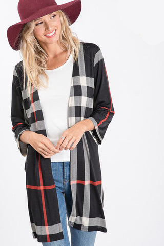 Erin Black Plaid Three-Quarter Sleeve Cardigan