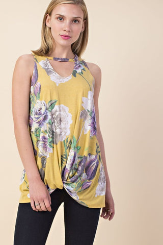 Rowan Sleeveless Floral Top with Keyhole and Knot Hem