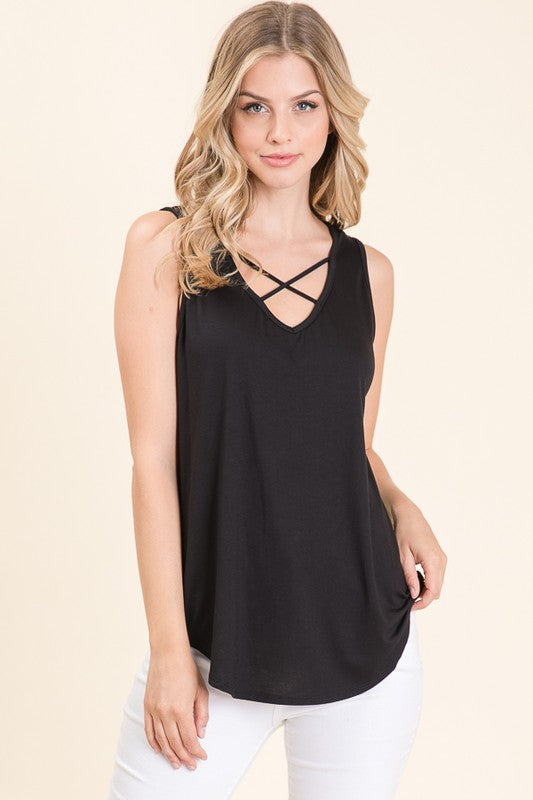 Erica Criss Cross Front V-Neck Sleeveless Top