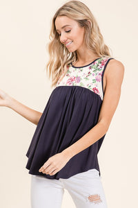 Monica Navy and Floral Sleeveless Top