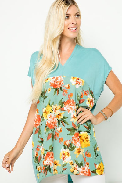 Tiffany Blue Short Sleeve V-Neck Top with Floral Contrast Front