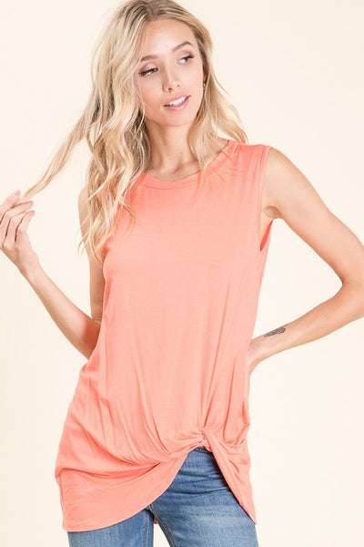 Tina Light Coral Sleeveless Top with Side Knot Detail