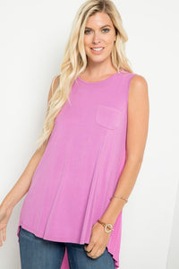 Sasha Sleeveless Solid Front Top with Pleated Back