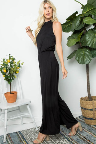 Lindsey Black Sleeveless Jumpsuit with Side Pockets