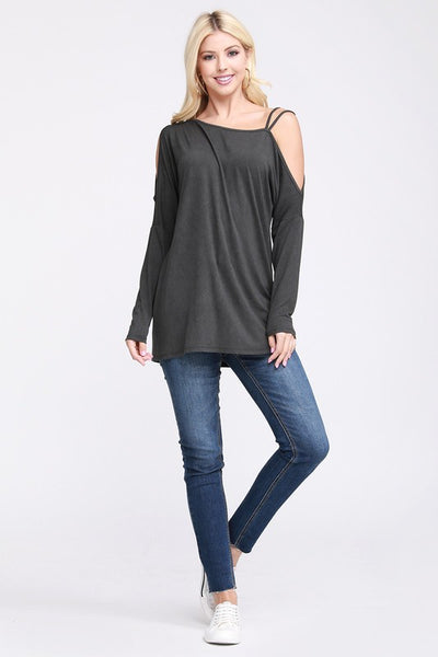 Maddie Charcoal One Side Open Shoulder Top