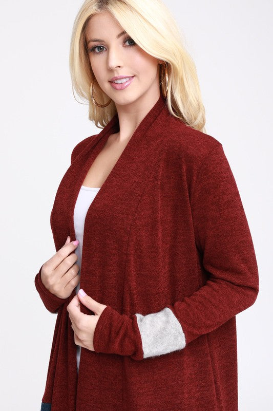 Susan Burgundy Color Block Open Front Cardigan