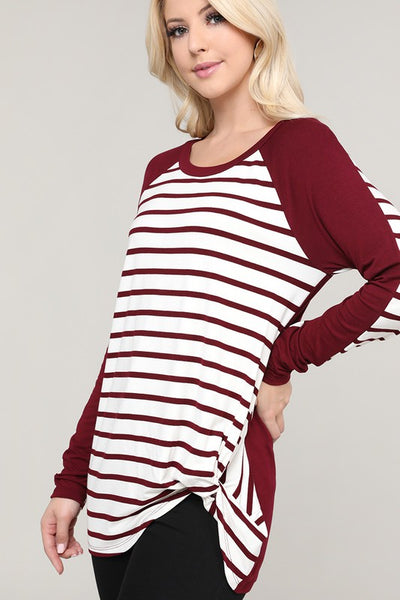 Stephanie Burgundy and Ivory Striped and Solid Contrast Knotted Top