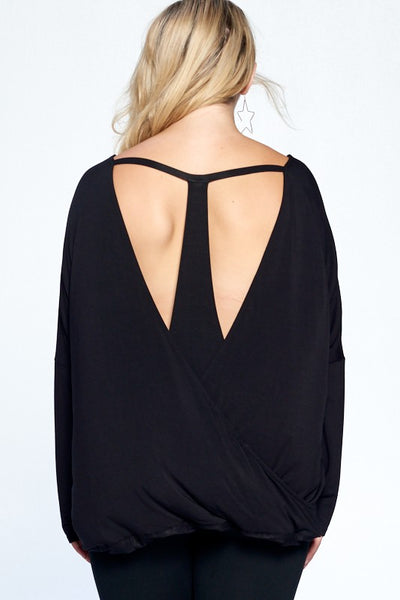 Becky Knit Top with Round Neckline, Dropped Shoulders, and Racerback Overlayer and Cutout Details