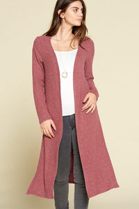 Ella Two Tone Ribbed Mauve Hacci Brush Casual Long Cardigan with Side Slits