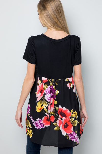 Sydney Short Sleeve Tunic Top with Floral Back