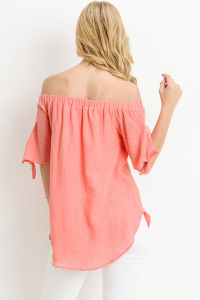 Kisten Short Sleeve Off the Shoulder Top with Tie Sleeve
