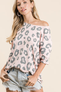 Karen Pink Leopard Print Drop Shoulder Short Sleeve Shirt