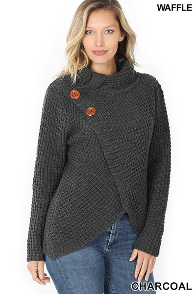 Alexis Wrap Sweater with Asymmetrical Hem and Button Details