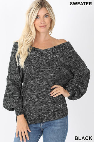 Madeline Balloon Sleeve Double V-Neck Sweater
