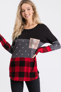 Molly Long Sleeve Plaid Color Block Top