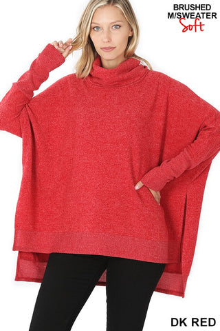Renee Brushed Melange Cowl Neck Oversized Poncho Sweater