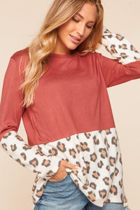 Megan Hacci Color Block Leopard Print Sweater