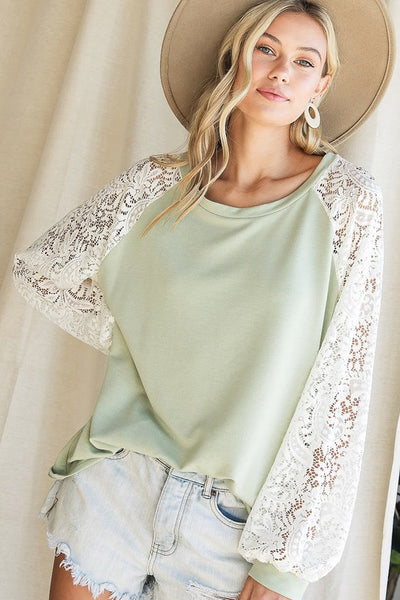 Penelope Sage Top with Lace Puff Sleeves