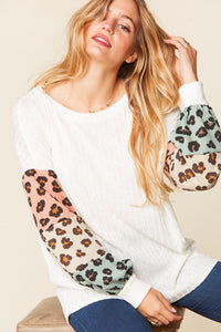 Abigail Bubble Sleeve Top with Leopard Print