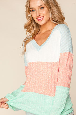 Harper Color Block V-Neck Sweater