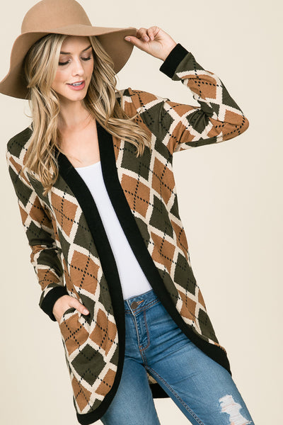 Ana Olive and Taupe Argyle Print Open Front Cardigan