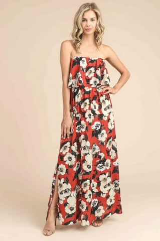 Ava Red Floral Maxi Dress with Ruffle Top