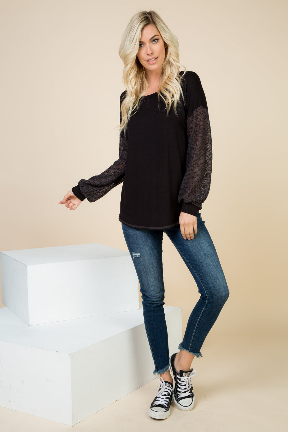Faye Black Top with Contrast Open Knit Puff Sleeve