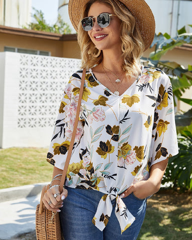 Ava White Floral V-Neck Top with Front Tie
