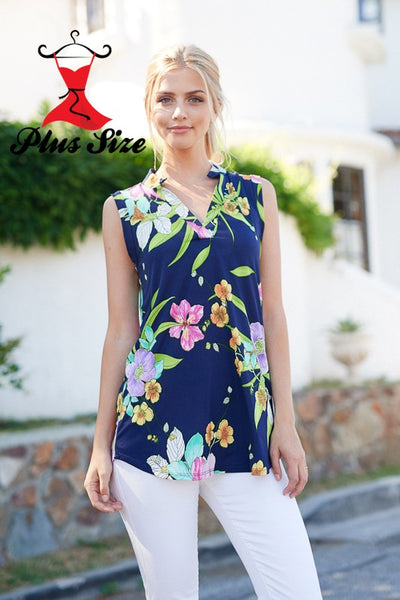 Emma Navy Floral Print Sleeveless Top