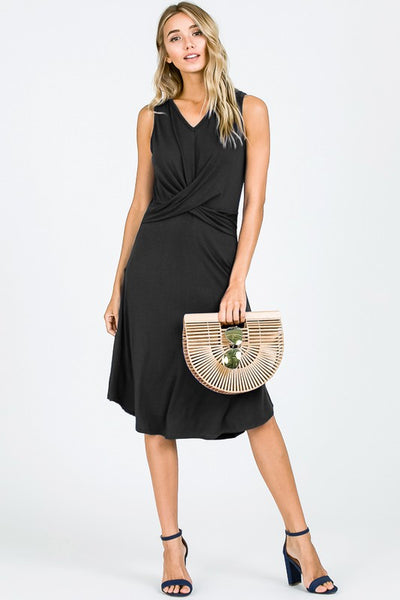 Dee Black Sleeveless Dress with Twisted Front Detail
