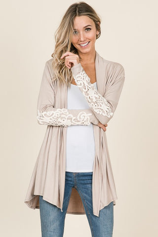Gianna Beige Shawl Cardigan with Crochet Lace Detail