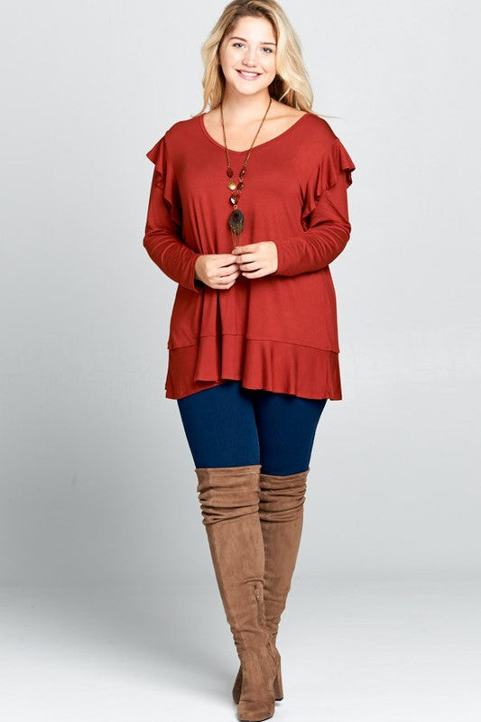 Sara Rust Long sleeve top
