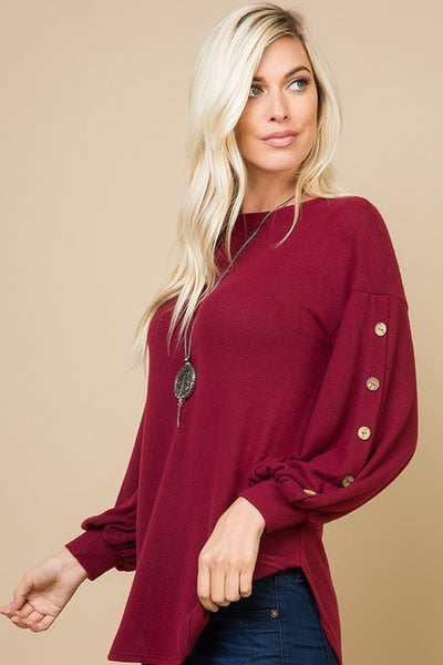 Micci Soft Hacci Sweater with Balloon Sleeves and Button Detail