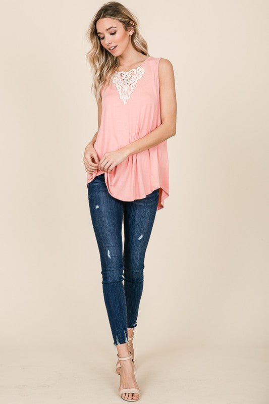 Elizabeth Blush V-neck Sleeveless Top with Crochet Lace Detail