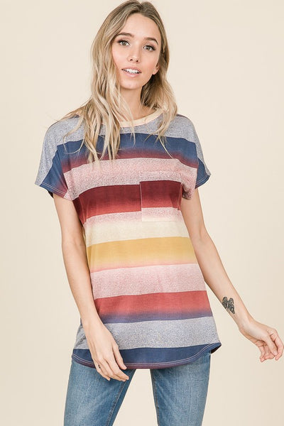 Abbie Multi-stripe Relaxed Fit Short Sleeve Top